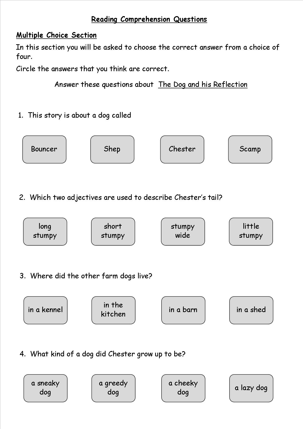 Worksheet Comprehension Questions Ks2 worksheet comprehension questions ks2 mikyu free reading with multiple choice worksheets mais de 1000 1240x1754