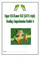 KS1/LKS2 SATs style reading comprehension booklet (6).  Fiction and non fiction texts based around the topic of Frogs.
