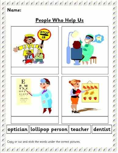 Worksheets For People : Eyfs ks sen people who help us topic resources