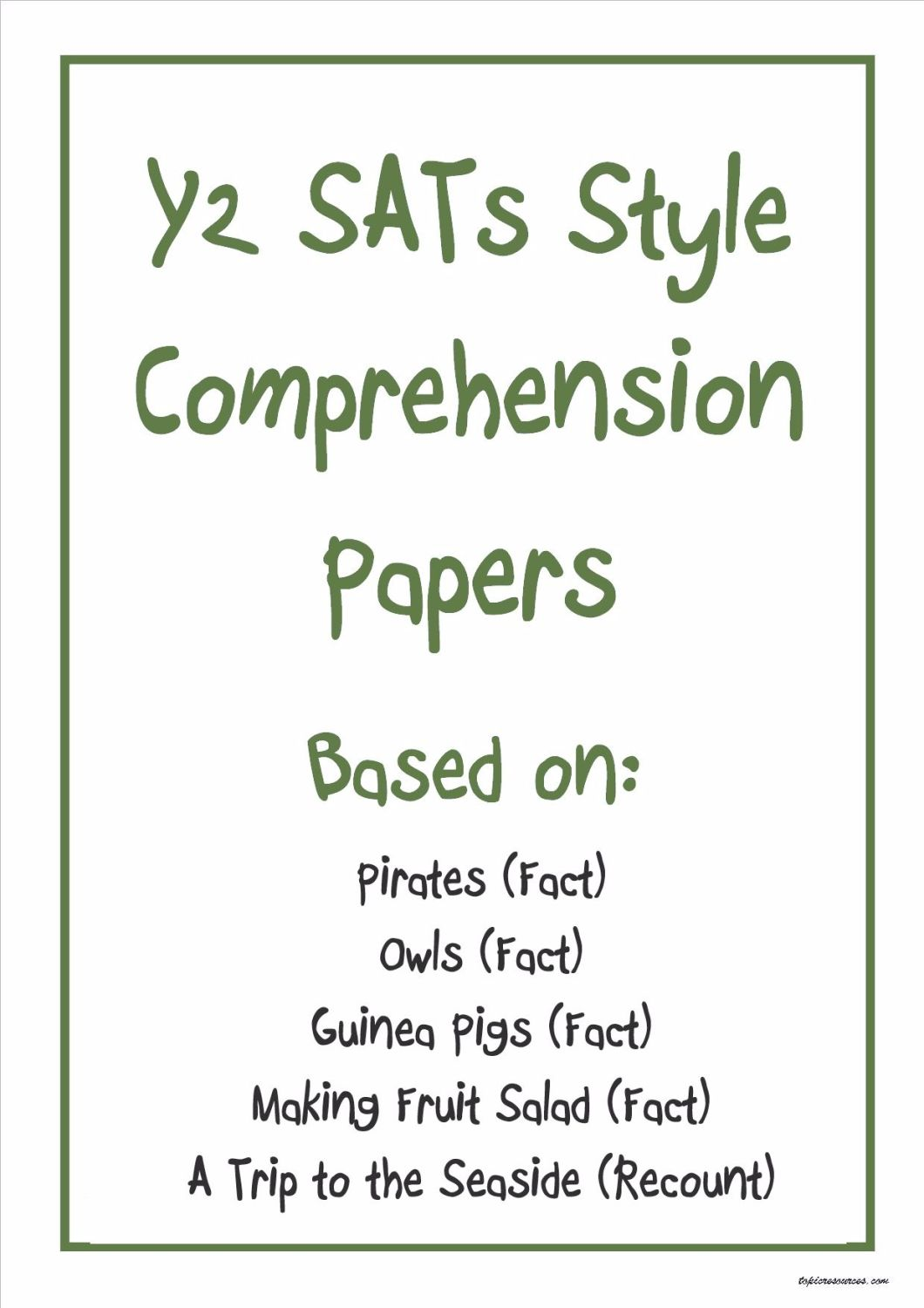 Non-fiction KS1 comprehension papers based on popular KS1 topics (pack 3).