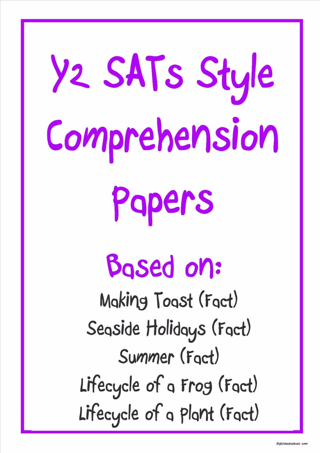 Non-fiction Y2 SATs-style comprehension papers (pack 2) based on popular KS