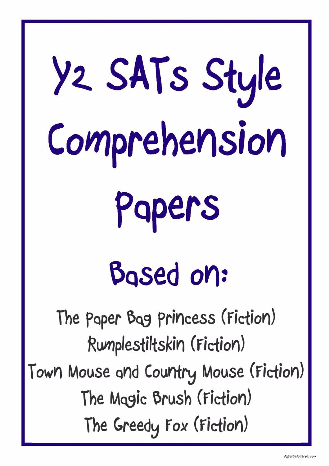 KS1 comprehension papers based on well known children's stories.