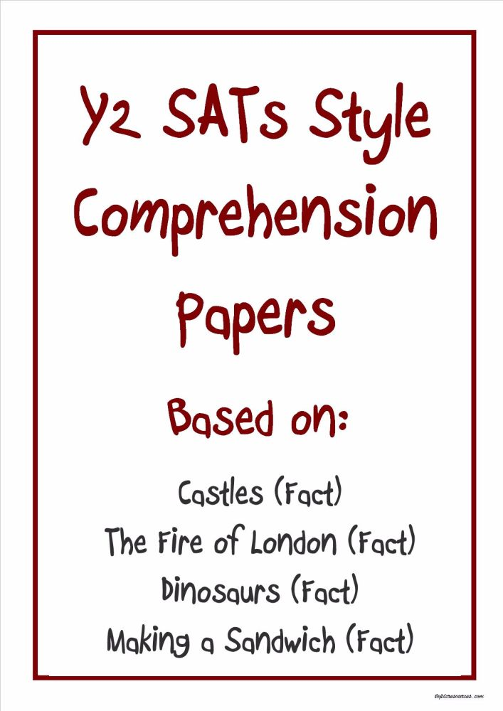 Eyfs Ks1 Ks2 Sen Ipcliteracy Sats Reading Comprehension Non