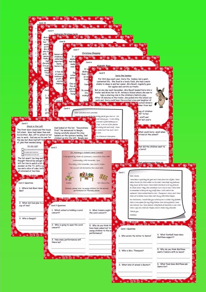 New KS1 Christmas Reading Comprehension Cards