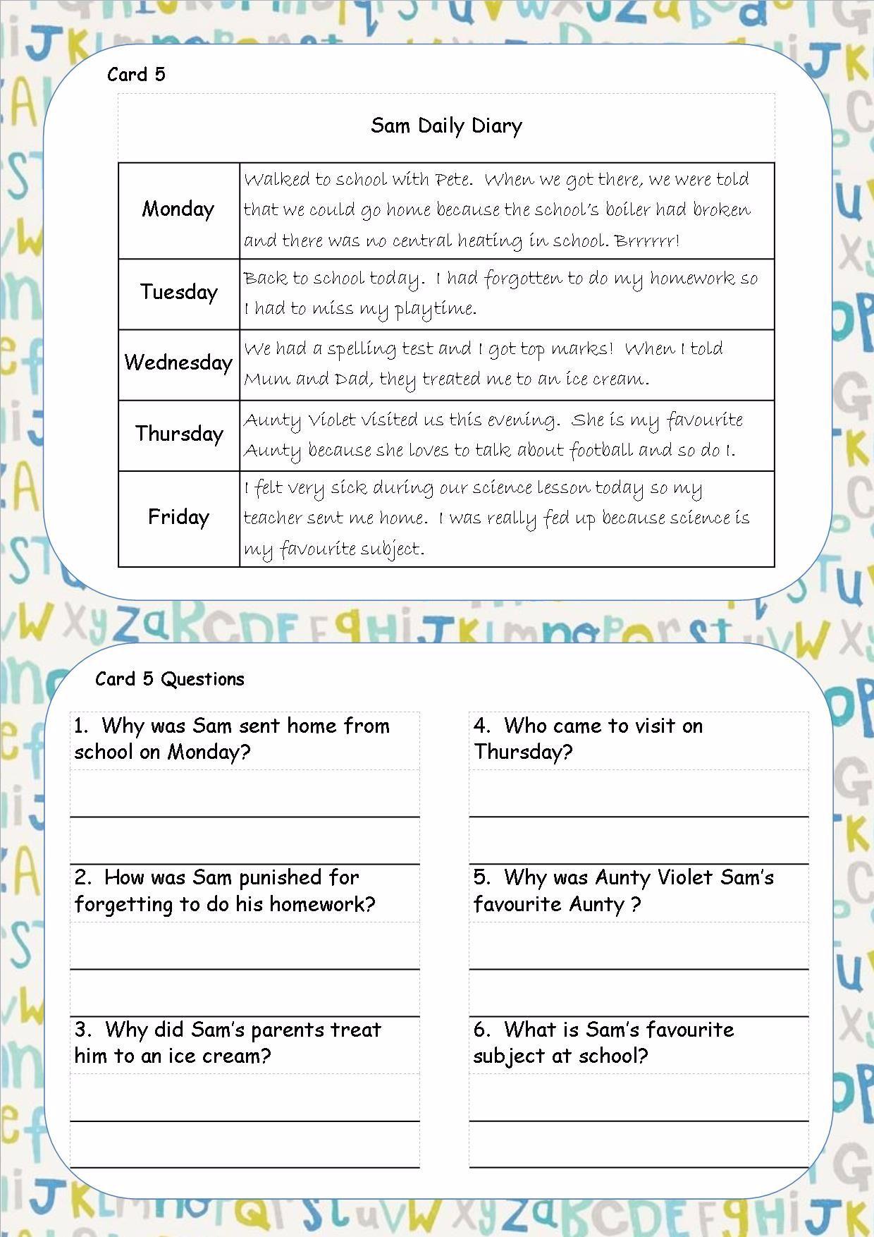 Worksheet Interactive Reading Comprehension Ks2 ks1 ks2 sen ipc reading comprehension cards guided cards5