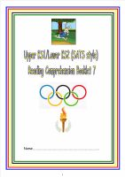 KS1/LKS2 SATs style reading comprehension booklet 7. (Olympic theme).