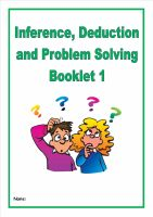Inference, Deduction and Problem Solving Pack 1/Homework Booklet for KS2
