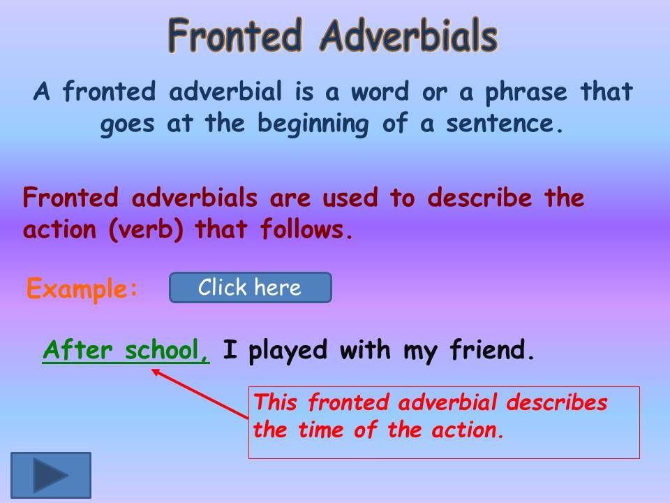 Ks1 Ks2 Sen Ipcliteracy Grammar Fronted Adverbials Guided