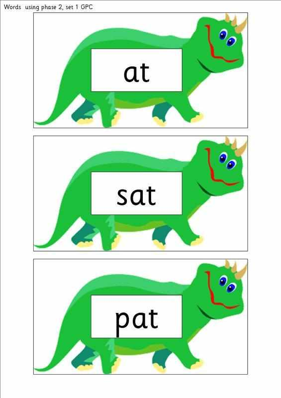 Letters and Sounds , phase 2, sets 1 and 2 word cards (with dinosaur ...