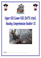 KS1/LKS2 SATs style reading comprehension booklet based on Pirates.  Designed to address New Curriculum requirements.