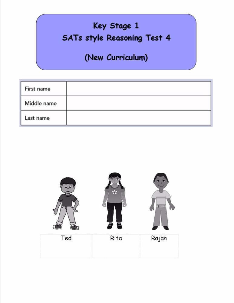 KS1, Year 2, SATs style Reasoning practice papers 4 (New Curriculum)