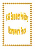 New KS2 Summer Holiday Homework/Activity Pack