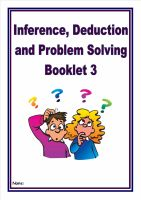NEW!  Inference, Deduction and Problem Solving Pack 3/Homework Booklet for KS2