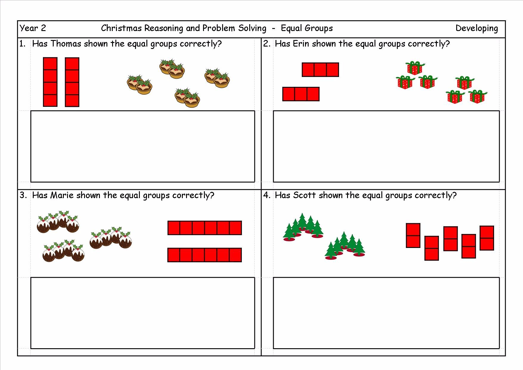 KS1, Year 2, Year 3 Christmas Multiplication Problems based on ideas ...