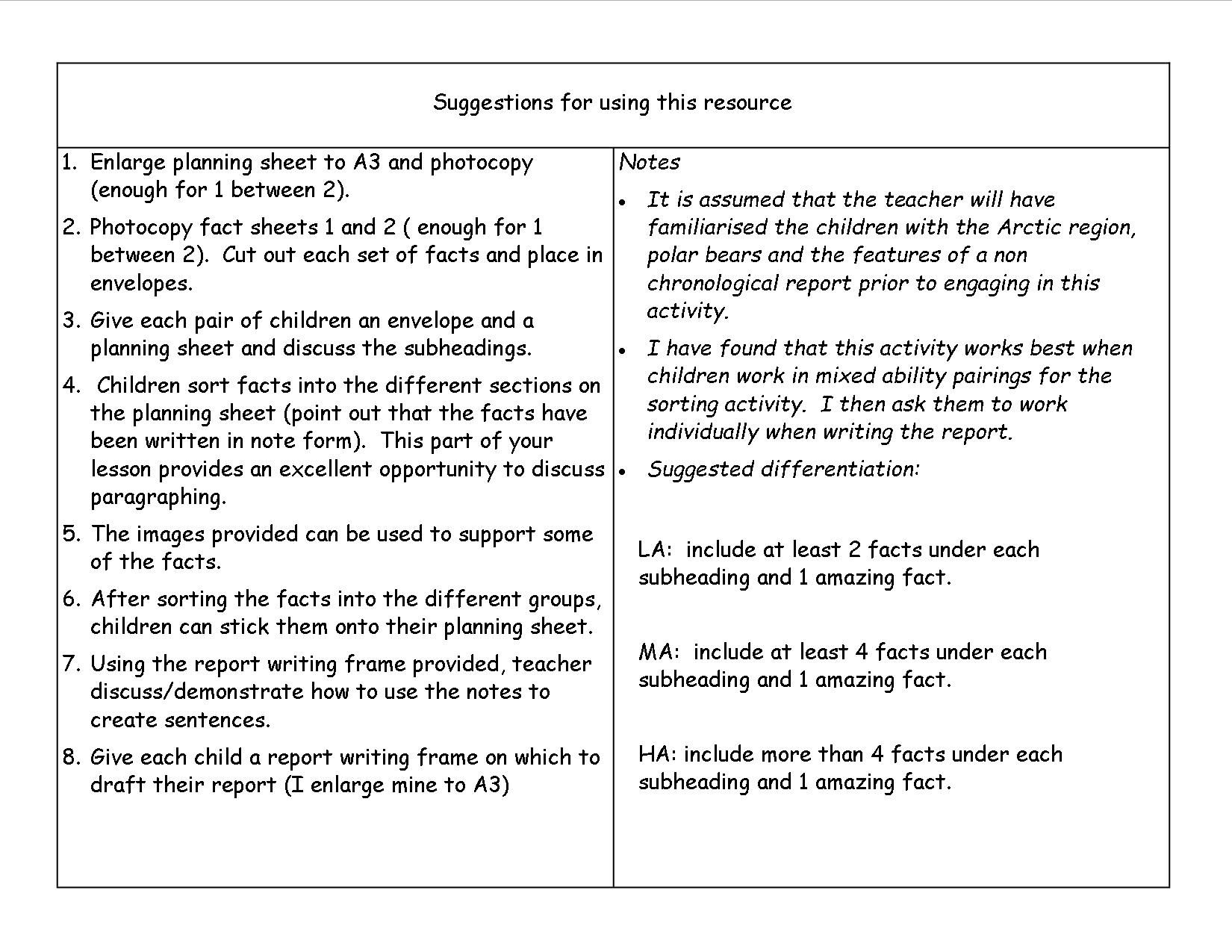 report writing template ks1 - non chronological report writing frame