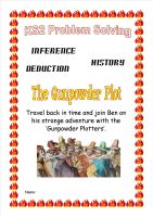 KS2 Guy Fawkes Time Travel Historical Problem Solving Booklet with inference and deduction challenges.