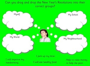 New Year resolutions, EYFS, KS1, topic resources ,free resources, SEN, foundation stage, early years, powerpoints, smartboard resources, interactive, key stage 1, year 1, worksheets, labels, games, Early Years Foundation Stage