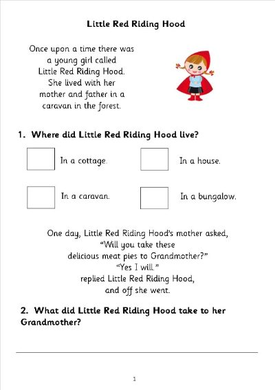 little red riding hood comprehension