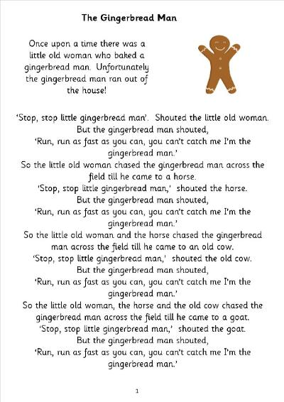 Slobbery image regarding gingerbread man story printable