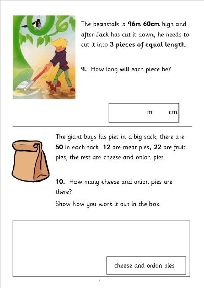 ... sats practice questions based on the story of Jack and the Beanstalk