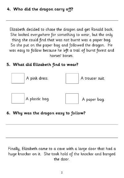 Free KS1 comprehension paper - The Paper Bag Princess -Free Sample