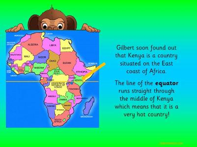 Map Of Africa Ks1.Gilbert The Globetrotting Monkey Goes On African Safari Topic Pack