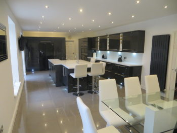 Kitchens White Gloss Kitchen With Black Worktops on black with white kitchen floor, black with white doors, black with white drawers,