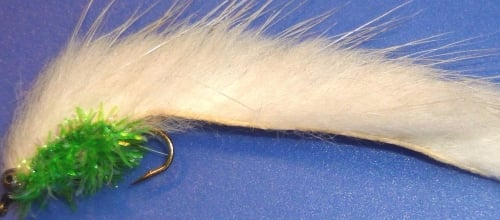 Minky- White with green fritz body -chain eyes /M11