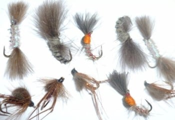 ,CDC  mixed flies ,10  x Trout flies assorted patterns