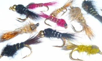 Hare's ears ,10  x Trout flies,assorted colours