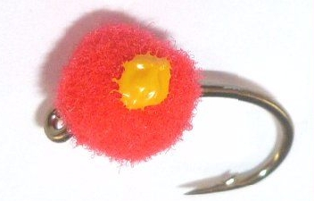Egg fly , Blood Red unweighted ,Yellow dot ,5 mm [E52]