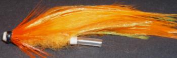 Tube fly ,Orange zonker, plastic [TU 1]