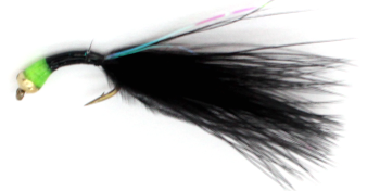 Buzzer- Nugget-Gold head-black-green-Tailed Barbless#12 [BH14]