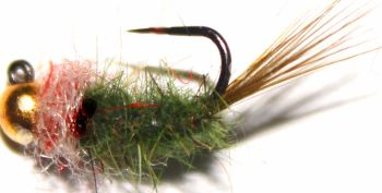 Grayling fly ,Olive and lt Pink# 14, Tungsten  [GR6]