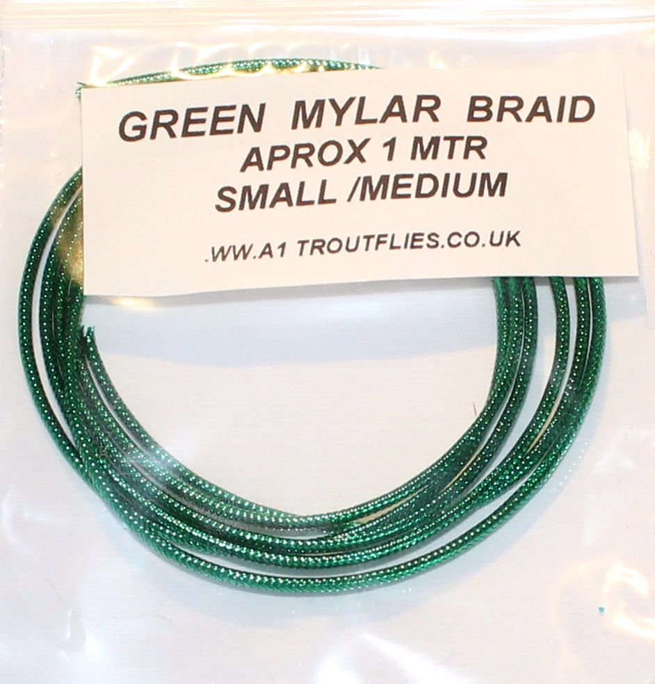 Green Mylar braid ,small/medium