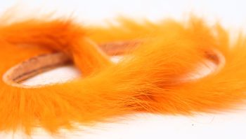 Orange  Rabbit zonker strips ,Straight cut x 1 mtr pack