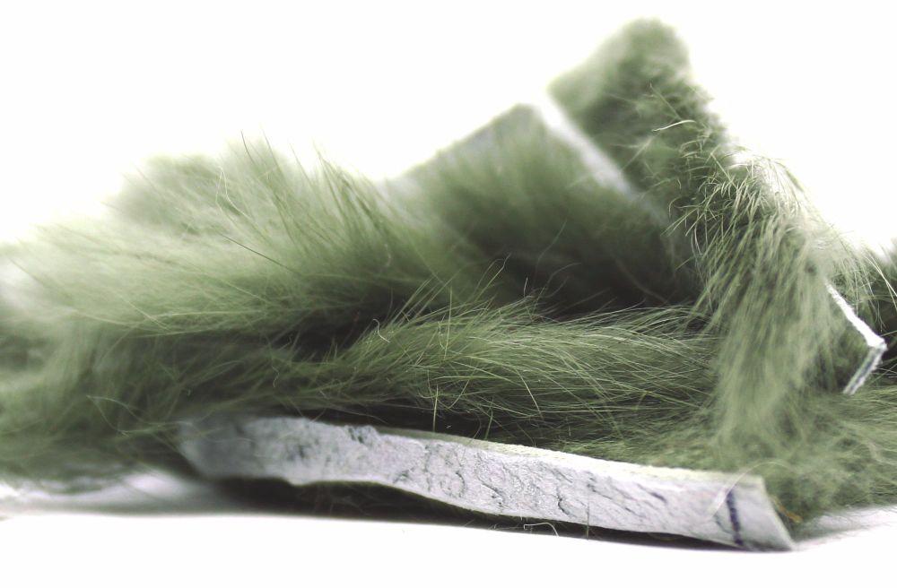 Dull olive Rabbit zonker strips ,Straight cut x 1 mtr pack