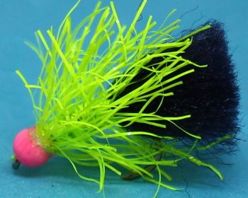 Tungsten Bead, Blob ,Chartreuse straggle/Black,Hot head Pink [TBB7
