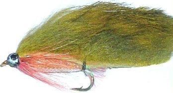 zonker - Olive with Pearl mylar body and red throat hackle /Z27