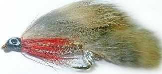 zonker - Natural with silver Mylar body and red throat hackle /Z 29