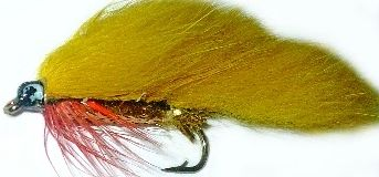 zonker -Golden olive with Gold Mylar body and red throat hackle /Z 33