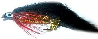 zonker Black with Gold Mylar body and red throat hackle /Z 37