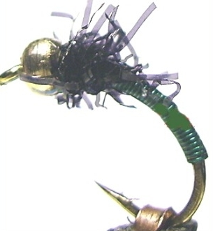 Brassie -Beadhead-Bottle green-black straggle [BR4]