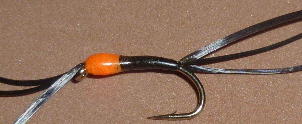 Bloodworm -flexifloss- Black hot head, Orange