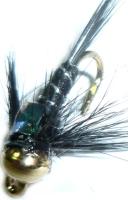 Damsel nymph -  Black - gold head- flash back  / DAM 5