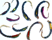 Buzzers ,varnished, 10 xTrout flies , assorted patterns