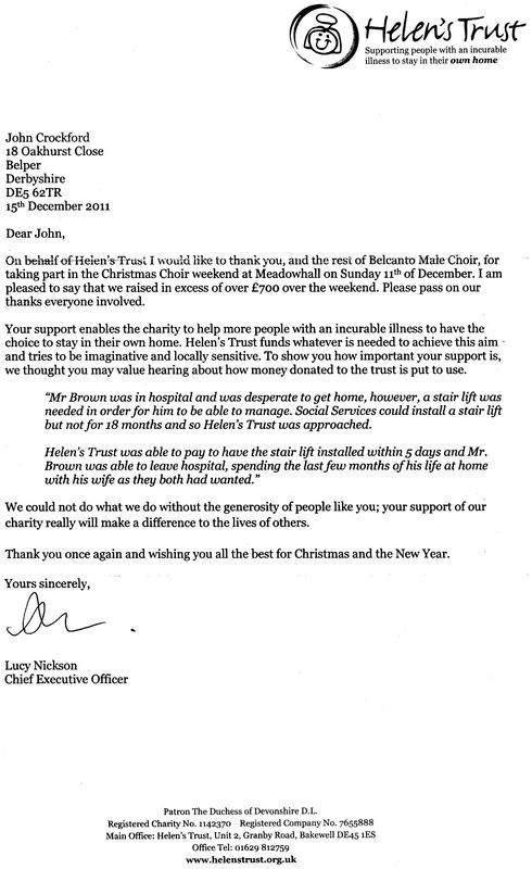 Letter from Helens Trust