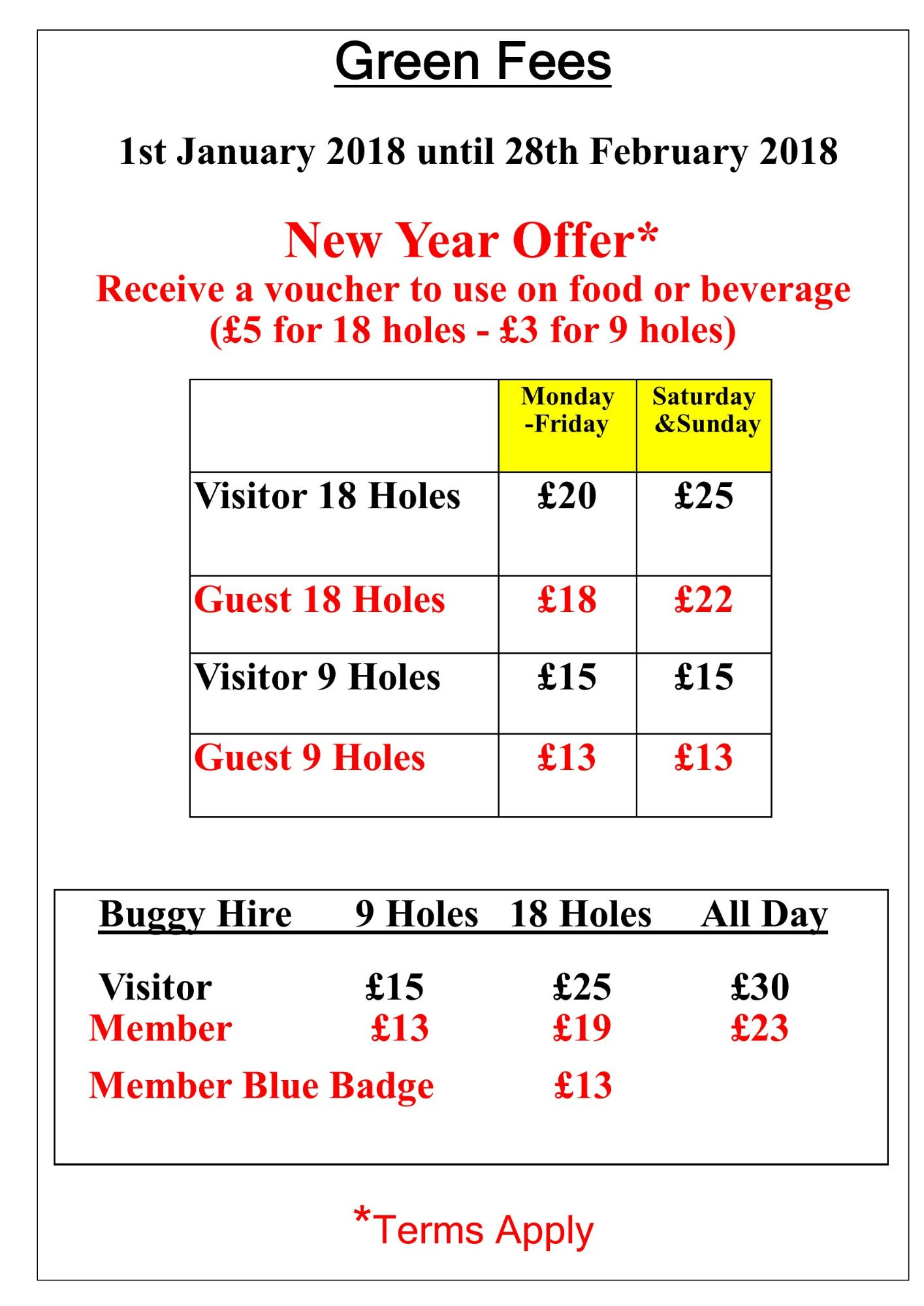 Green Fees New Year Offer 2018
