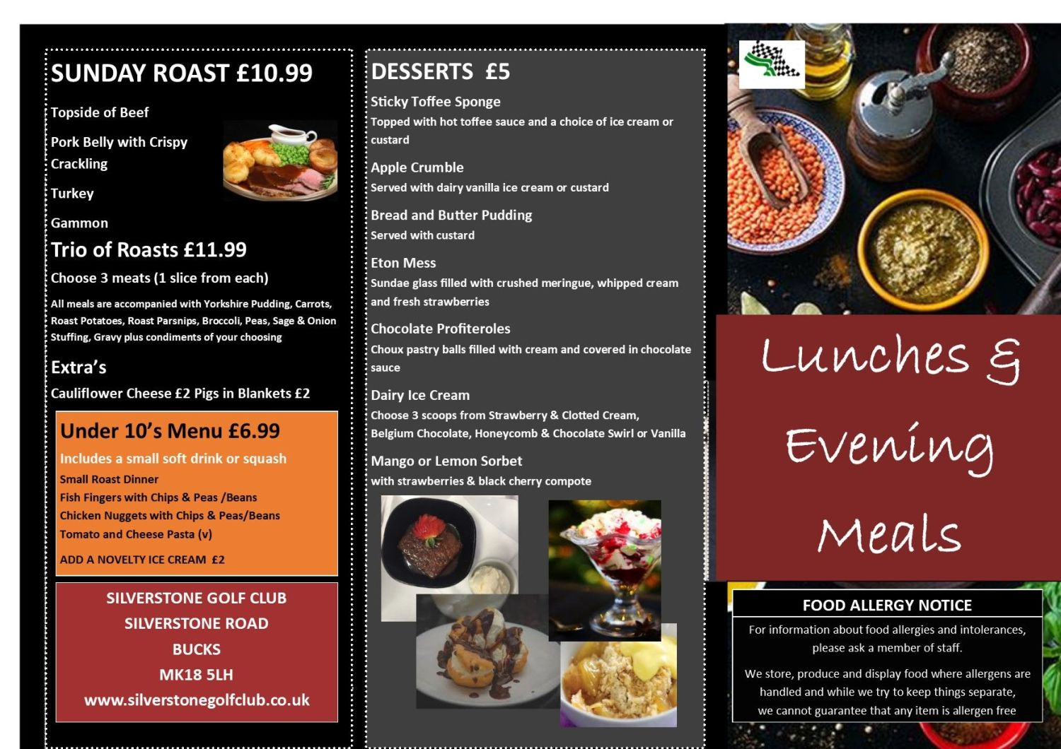 Menu Lunch & Evening 11th March 2019