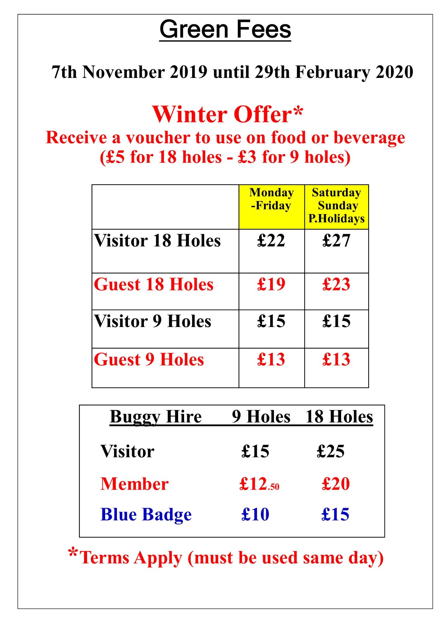 Green Fees Winter 2019